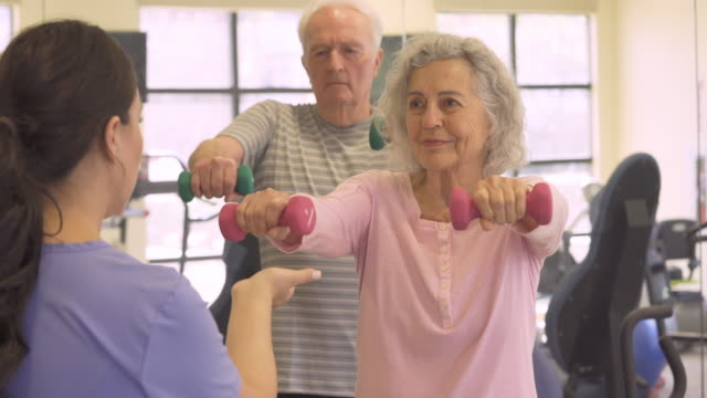 seniors workout in gym - health club stock videos & royalty-free footage