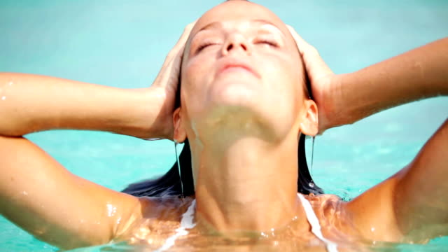 sensational summer beauty - wet hair stock videos and b-roll footage