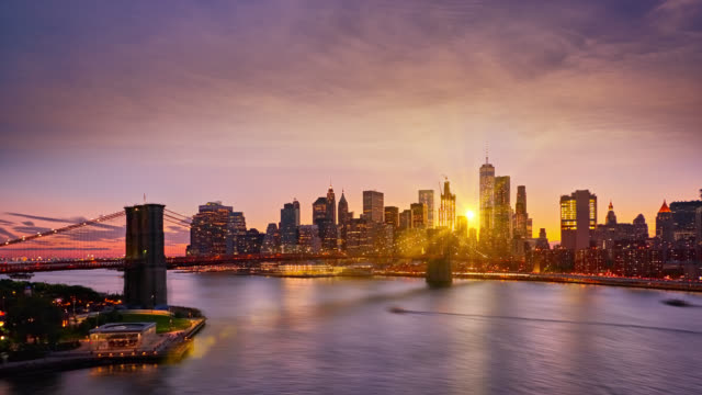 senset over manhattan business district - urban skyline stock videos & royalty-free footage