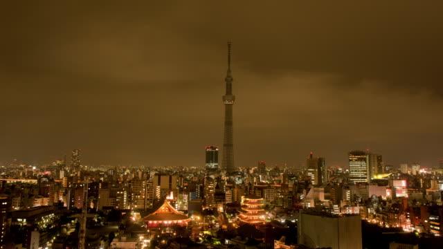 vídeos de stock, filmes e b-roll de sensoji temple and tokyo skytree tower in tokyo, japan - templo asakusa kannon