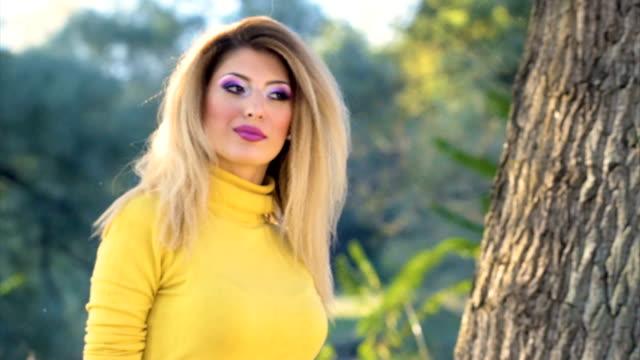 sensuale ragazza nel parco - dolcevita video stock e b–roll
