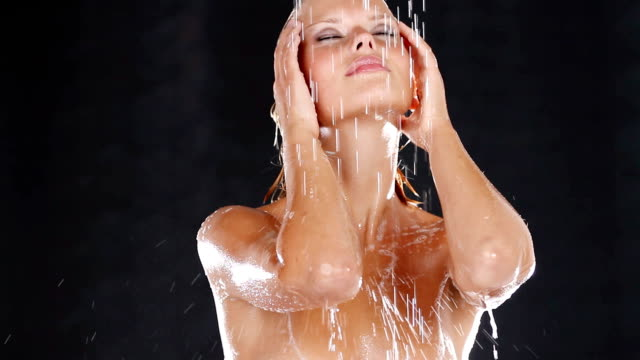 sensual shower to wash her cares away - naked stock videos & royalty-free footage