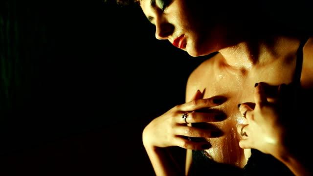vídeos y material grabado en eventos de stock de sensual mujer joven en ropa interior - lencería
