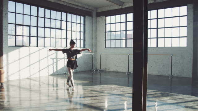 sensuous dancer doing ballet in spacious room - ballet dancing stock videos & royalty-free footage