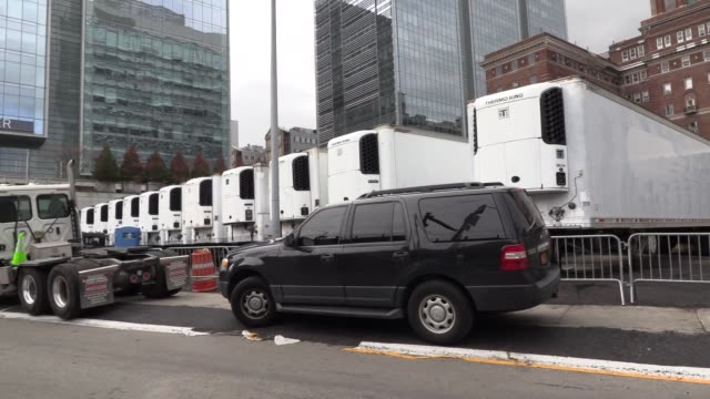 fema sent 85 refrigerated trucks to new york city for overflow of bodies to help city contain victims of covid19 coronavirus as morgues will reach... - full stock videos & royalty-free footage