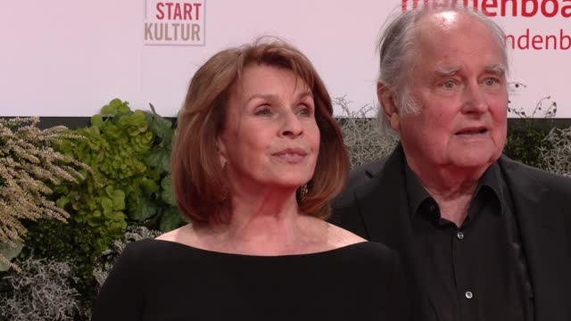senta berger and michael verhoeven arrive for the lola - german film award at palais am funkturm on october 01, 2021 in berlin, germany. - 映画賞点の映像素材/bロール