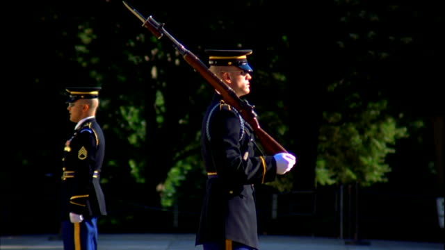 sentinel soldier standing w/ shouldered rifle, officer, sergeant of the guard standing facing opposite direction. military bearing, discipline,... - sergeant stock videos & royalty-free footage