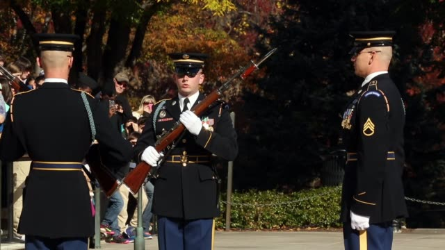vídeos de stock e filmes b-roll de sentinels from the 3rd us infantry regiment also called the old guard conduct the changing of the guard at the tomb of the unknowns on veterans day... - cemitério nacional de arlington