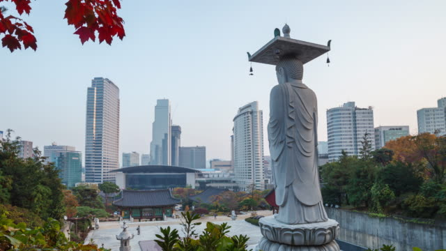 seoul buddhist temple and city view day to night timelapse - south korea stock videos and b-roll footage