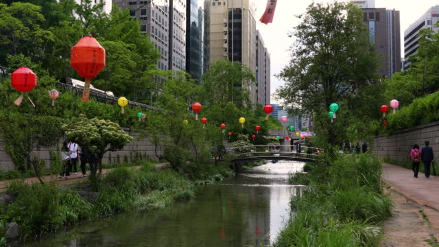 seoul cheonggyecheon stream south korea - south korea stock videos & royalty-free footage