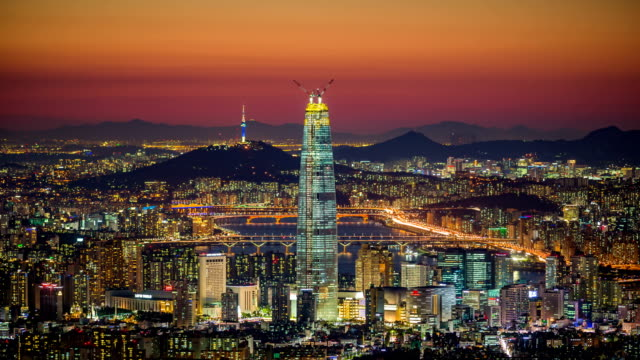 seoul city at night - south korea stock videos and b-roll footage