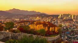 Seoul City Skyline at Sunset in Autumn