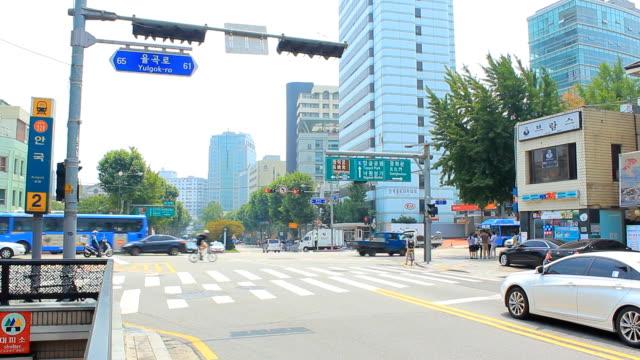 seoul città - time lapse del traffico video stock e b–roll