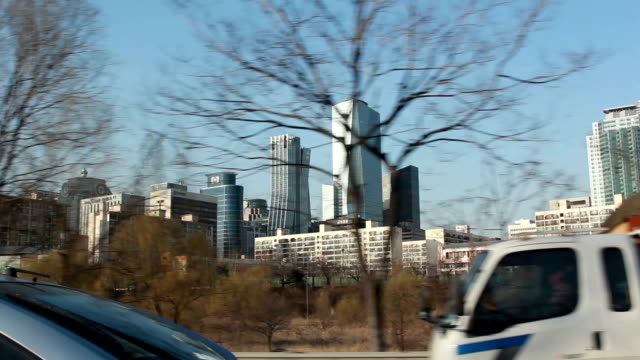 Seoul city view from car inside