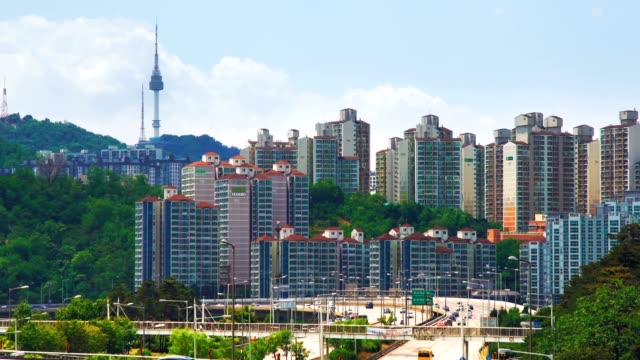 ソウル タワー ソウル金融エリア - ソウル点の映像素材/bロール