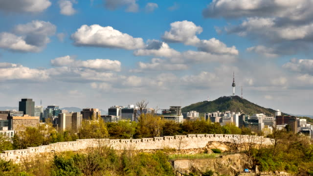 seoul fortress wall and n seoul tower / jongno-gu, seoul, south korea - surrounding wall stock-videos und b-roll-filmmaterial
