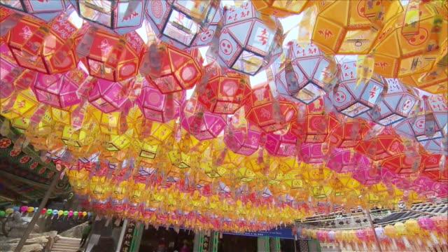 ms td seoul jogyesa lanterns buddha birthday / seoul, south korea - buddha's birthday stock videos and b-roll footage