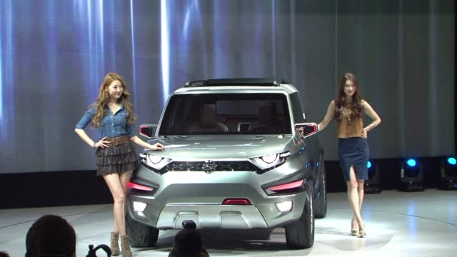 seoul motor show attracts thousands of auto industry experts with world premieres of six new cars from chevrolet kia ssang yong and hyundai - chevrolet stock videos & royalty-free footage
