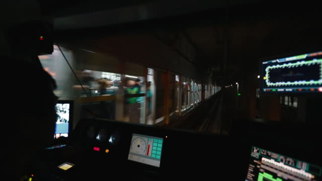 seoul subway line 2 train driving in tunnel from drivers seat - south korea stock videos & royalty-free footage