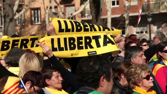 Separatists gather outside the Catalan Parliament in Barcelona to protest against the incarceration of pro independence politicians