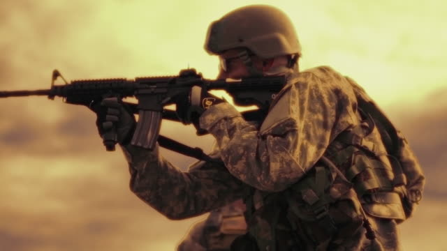 sepia clip of soldier practicing at firing range - sepia stock videos & royalty-free footage