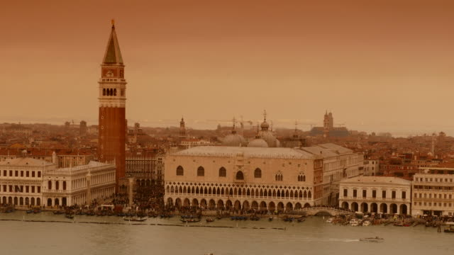 4k sepia view of doge's palace and st. marc's campanile on canale grande, italy - sepia stock videos and b-roll footage