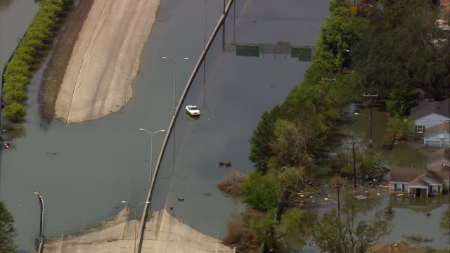 sept. 10, 2005 aerial flooded interstate highway in aftermath of hurricane katrina/ louisiana - 2005 stock videos & royalty-free footage