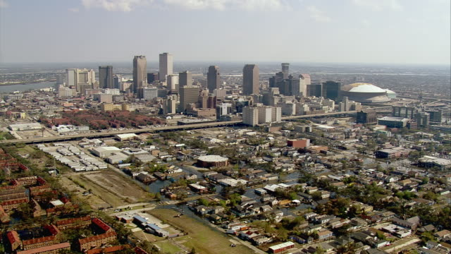 sept 11 2005 aerial central business district in aftermath of hurricane katrina / new orleans - hurricane katrina stock videos and b-roll footage