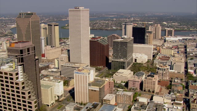 Sept 11 2005 aerial Central Business District on bank of Mississippi after hurricane / New Orleans