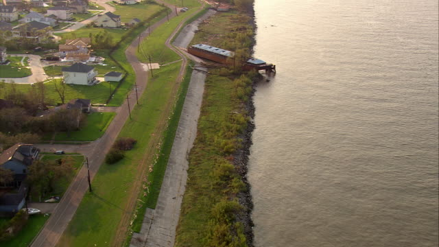 Sept 12 2005 aerial barges thrown onto shore of Mississippi in wake of hurricane / New Orleans