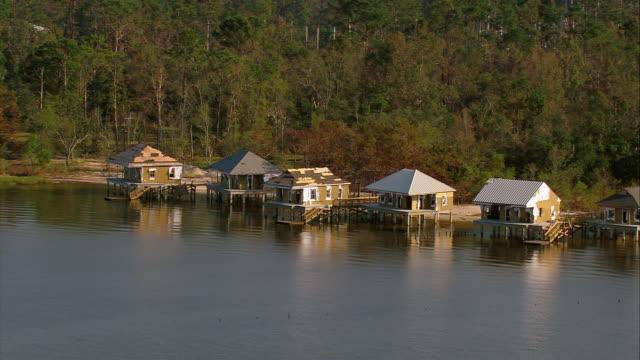 Sept 12 2005 aerial damaged stilt houses on Lake Pontchartrain in wake of hurricane / Louisiana