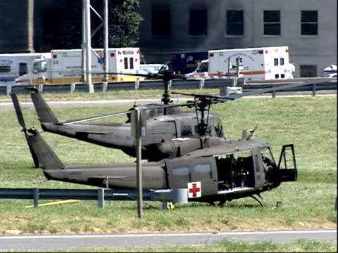 september 11 2001 zo medical helicopters on the grounds outside the pentagon / arlington county virginia united states - united states department of defense stock videos & royalty-free footage