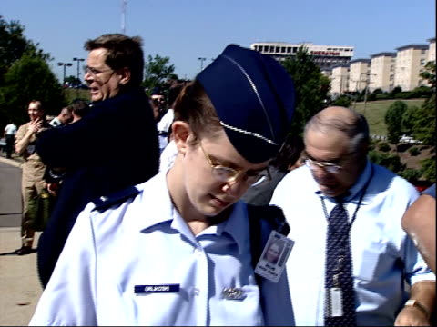 september 11 2001 montage military personnel and citizens watching from an overpass as the pentagon is burning / arlington virginia united states - the pentagon stock videos & royalty-free footage