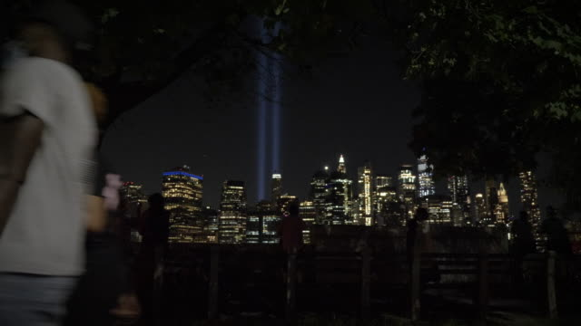 "september 11 attacks memorial ""tribute in light"" - september 11 2001 attacks stock videos & royalty-free footage"