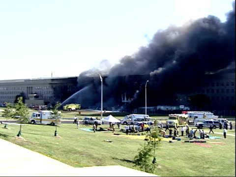 september 11,2001 rescue workers fighting fire area after terrorist attack on pentagon / arlington, virginia, united states - 2001 stock videos & royalty-free footage