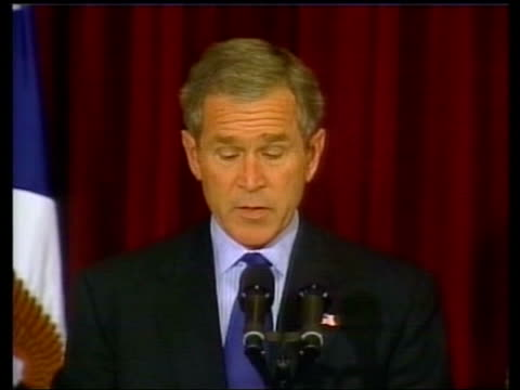 stockvideo's en b-roll-footage met 22 terrorists named pool president george w bush press conference sot these 22 individuals do not account for all the terrorist activity around the... - george w. bush
