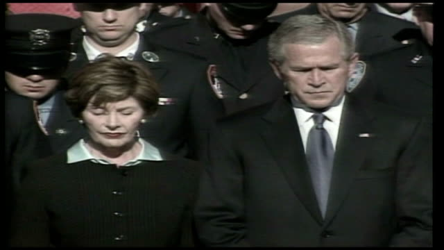 september 11th attacks: five years on; usa: new york: ground zero: ext bush and laura bush at 9/11 memorial standing in silence as bell rings sot - september 11 2001 attacks stock videos & royalty-free footage