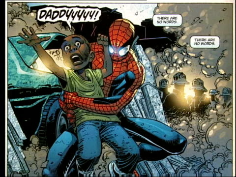 september 11th attacks: reaction of comics; itn sequence scenes from spiderman comic story relating to the terrorist attacks of september 11th roger... - terrorismus stock-videos und b-roll-filmmaterial
