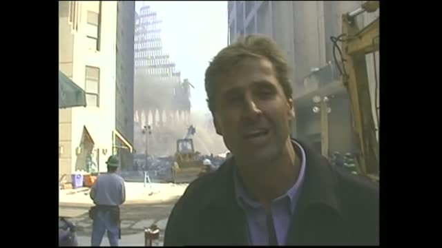 september 11th terrorist attacks: salvage operation; usa: new york: manhattan: ext gvs wreckage of twin towers i/c - tower stock videos & royalty-free footage