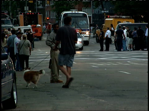 september 12 2001 shaky bus following a police car driving with their lights flashing down a city street as pedestrians stand by / new york city new... - 2001 bildbanksvideor och videomaterial från bakom kulisserna