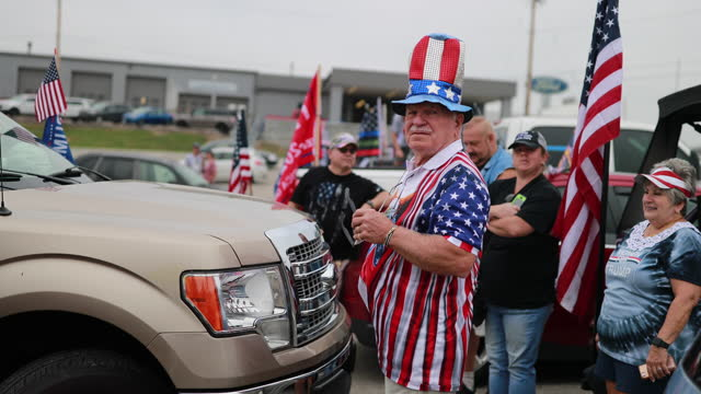september 12, 2020 - lawrenceburg, indiana usa: trump supporters wait in a parking lot near i-275 near lawrenceburg to participate in a trump parade,... - political rally stock videos & royalty-free footage