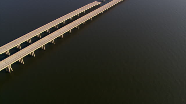 September 13 2005 aerial long shot damaged I10 Twin Span Bridge over Lake Pontchartrain / Slidell Louisiana