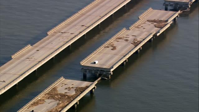 September 13 2005 aerial medium shot construction on I10 Twin Span Bridge over Lake Pontchartrain / Louisiana
