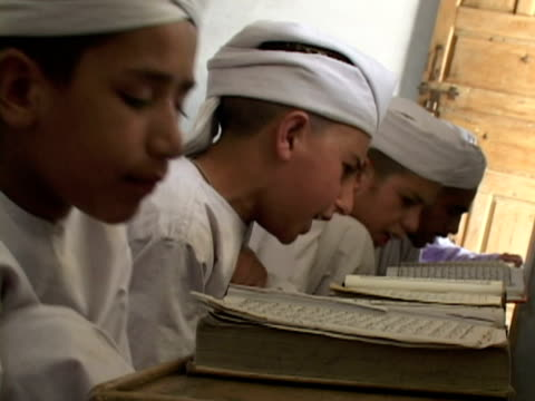 september 15 2005 ms boys studying alcoran in madrassa / chitral pakistan / audio - madressa stock videos and b-roll footage