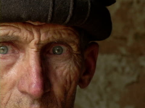 september 15 2005 cu portrait of senior man / chitral pakistan / audio - sad old asian man stock videos & royalty-free footage