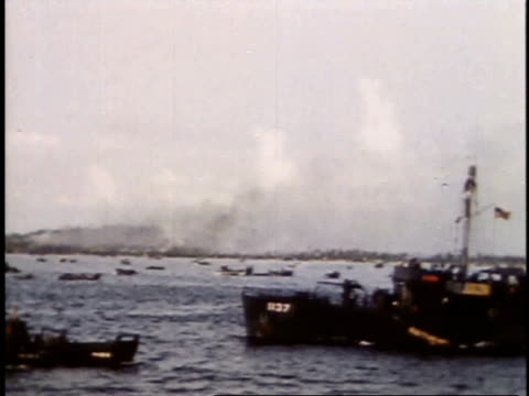 september 16 1944 ws ships and amphibious landing craft moving into position on peleliu dday / palau - 1944 stock videos & royalty-free footage