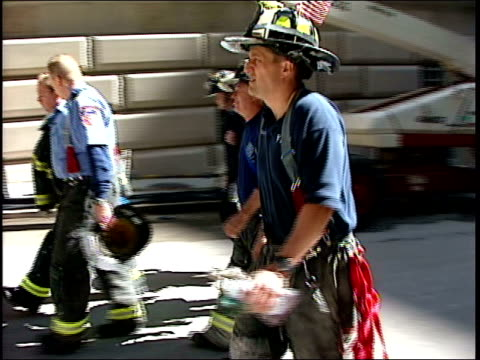 september 16, 2001 firefighters walking down new york city street / new york, united states - september 11 2001 attacks stock videos & royalty-free footage
