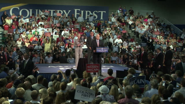 september 16, 2008 republican presidential candidate john mccain speaking at town hall campaign event as his wife cindy and florida senator mel... - john mccain stock videos & royalty-free footage