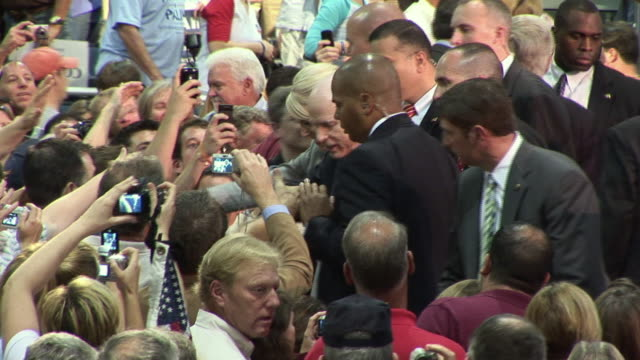 vídeos de stock e filmes b-roll de september 16 2008 ms republican presidential candidate john mccain greeting supporters at town hall campaign event/ tampa florida - fato completo