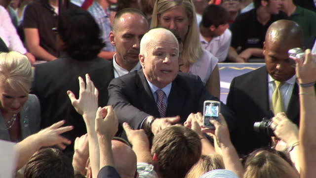 september 16, 2008 republican presidential candidate john mccain greeting supporters at town hall campaign event/ tampa, florida - john mccain stock videos & royalty-free footage